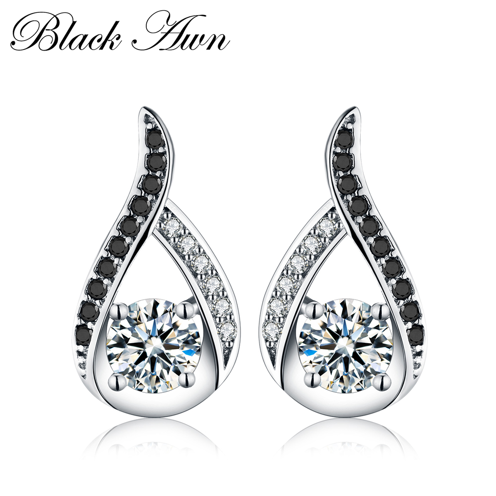 Vintage Genuine 925 Sterling Silver Female Earring Fine Jewelry Water-Drop Engagement Stud Earrings For Women T004