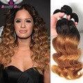 1B/27,1B/30 Two Tone Ombre Brazilian Hair Weave 3 Bundles Honey Blonde Brazilian Hair Weave 10A Ombre Body Wave Remy Human Hair