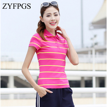 ZYFPGS 2019 Womens Polo Shirts Stripe Short Sleeve Collar The Woman Self-cultivation Simple fashion modelling  Z0519