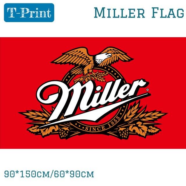 90150cm 6090cm Miller Beer Flag For Bar Party Sign 3x5FT