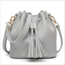 Fashion Vintage Crossbody Bags Women waterproof Leather Bucket Handbag.Female Tassel Drawstring mini Messenger Shoulder 5 colour