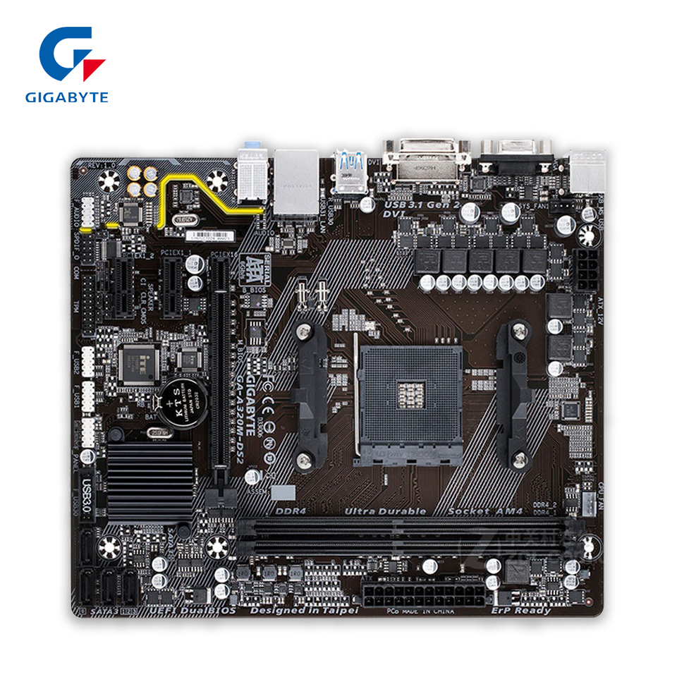 Gigabyte GA-A320M-DS2 Original New Desktop Motherboard A320M-DS2 Socket AM4 DDR4 32G USB3.1 Micro-ATX материнская плата пк gigabyte ga f2a68hm ds2 rev 1 0 ga f2a68hm ds2