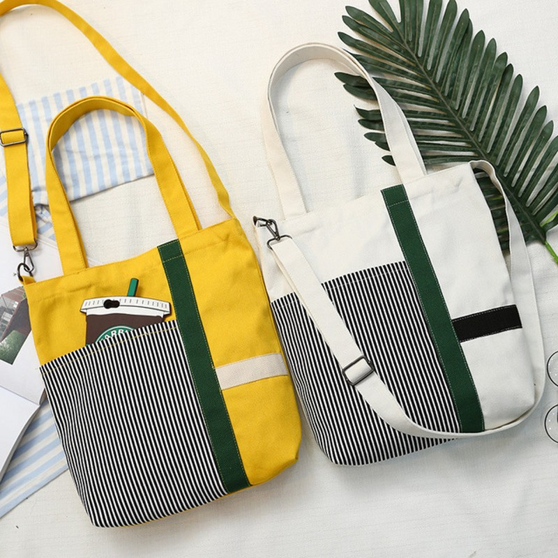 SAFEBET Solid Color Woman Canvas Shopping Bags Eco Cloth Striped Bag Fashion Totes Grocery Reusable Girls School Book Bag