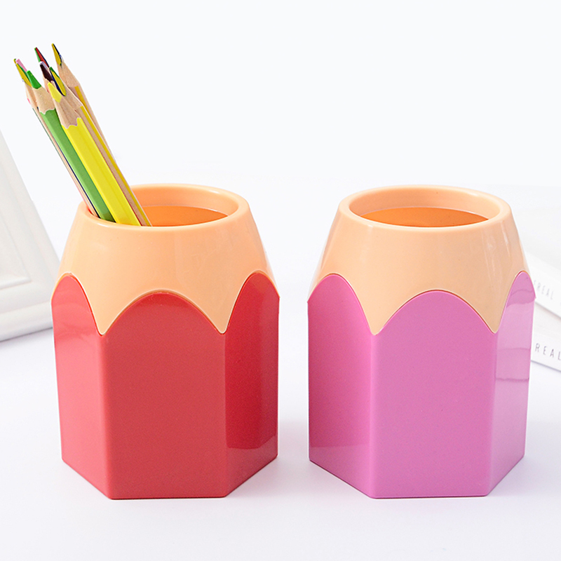 Creative Pen Holder Cute Candy Color Plastic Stationery Holder Office School Supplies Accessores Gift