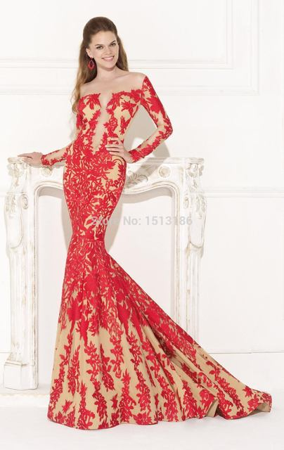 Sexy Fashion Red Lace Mermaid Prom Dresses 2014 Custom Plunging Neck Long  Sleeve Bare Back Prom e2c074f898ba