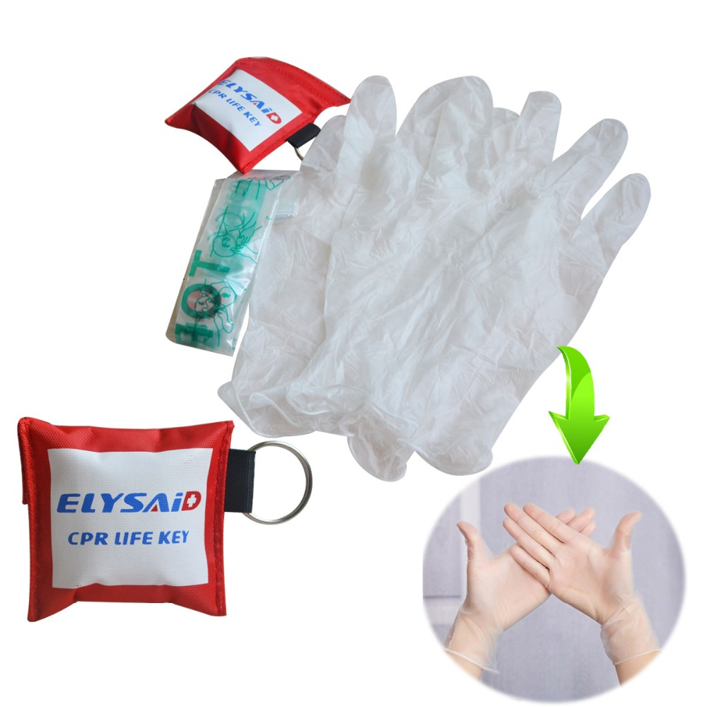 Pack Of 30Pcs CPR Life Key Elysaid CPR Face Shield One Way Valve Mask With Breathing Barrier First Aid Kit+30Pairs Gloves