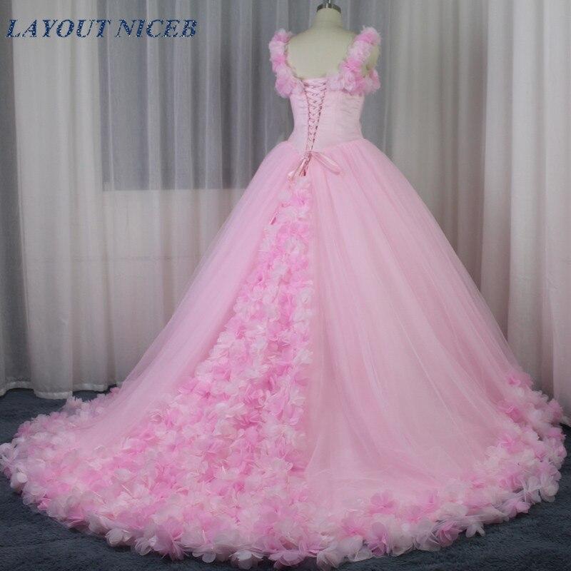 Очаровательное свадебное платье с длинными цветами, розовое Тюлевое платье, Роскошные свадебные платья, 2019 Mariage trouwjurk vestido de casamento