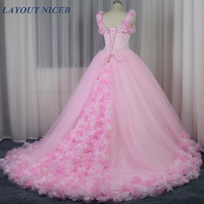 Charming Full Flowers Wedding Dress Pink Tulle vestido de noiva Luxury Gowns 2019 Mariage trouwjurk casamento