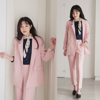 High Quality New Women Clothing Solid Color Spring Casual Suit Women Suit Female Two piece New Pink Set Jacket Professional Set