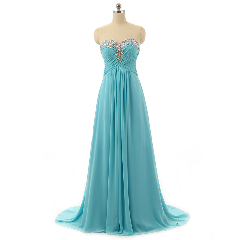 Alexzendra Long Chiffon   Prom     Dress   Sweetheart Beading Pleated Bodice Simple Party Gowns