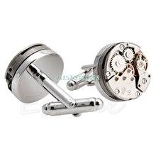 1 Pair Vintage Watch Movement Men's Cufflinks Steampunk Jewelry Premium Wedding Groom Present Cuff Links #Y51#