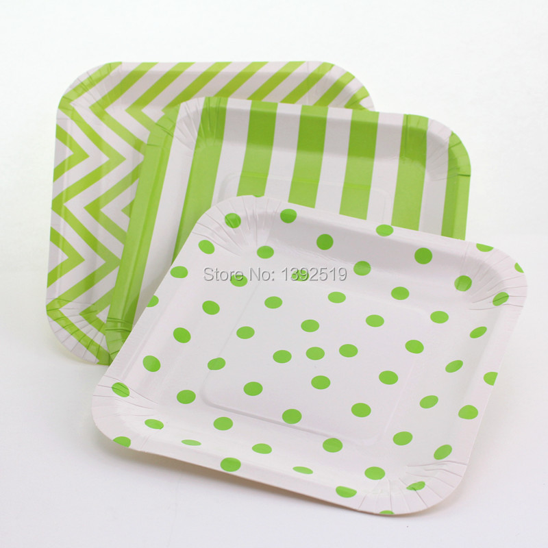 Free Shipping 240pcs Green Square Paper Plates Polka Dot Striped Chevron Tableware Dessert Cake BBQ Favor Paper Plate-in Dishes \u0026 Plates from Home \u0026 Garden ... & Free Shipping 240pcs Green Square Paper Plates Polka Dot Striped ...