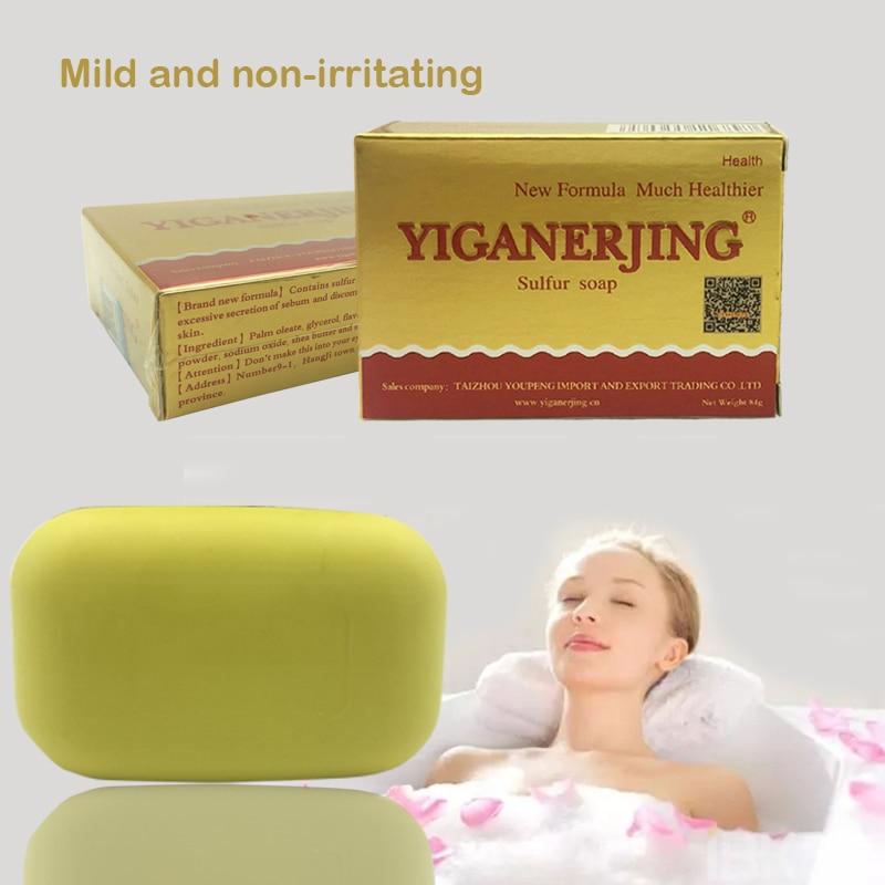 Yiganerjing Sulfur Soap Skin Conditions Acne Psoriasis Seborrhea Eczema Anti Fungus Handmade Bath Shampoo Soap Bath Soap