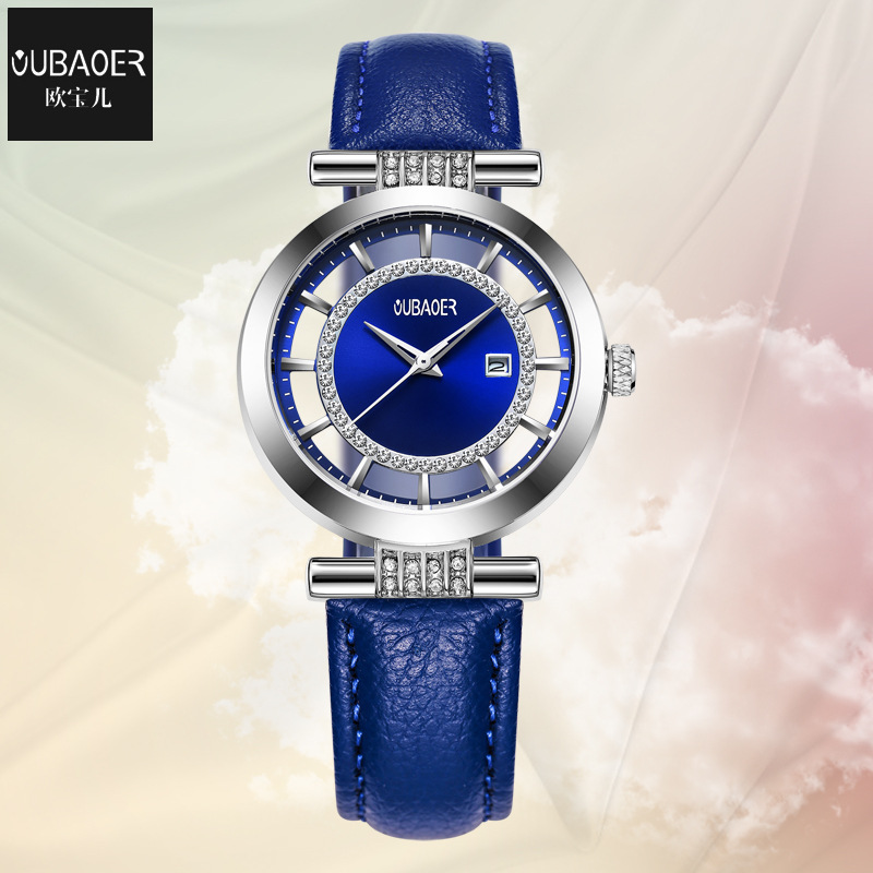 Oubaoer marque dames montres bleu véritable de mode en cuir montres femmes étanche calendrier femme horloges mouvement Citoyen
