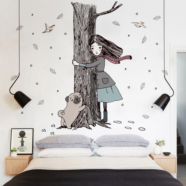 Fundecor] Hold the tree girl dog wall stickers for children room ...
