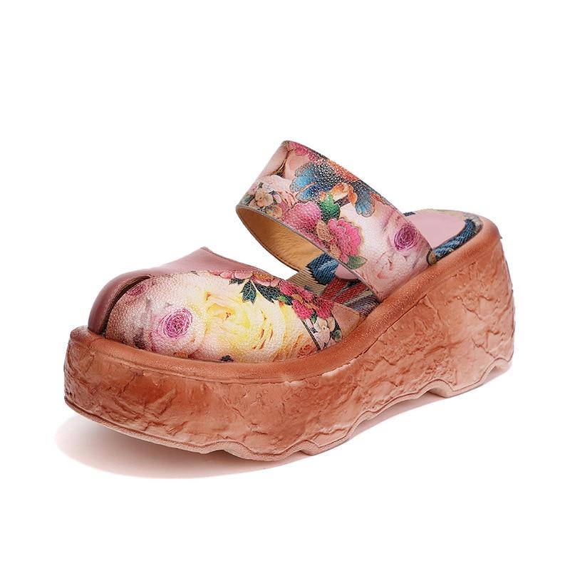 라운드 발가락 메리 제인 스트랩 레트로 민족 신발 꽃 인쇄 세련된 샌들 여름 높이 증가 슬리퍼 플랫폼 신발-에서하이힐부터 신발 의  그룹 1