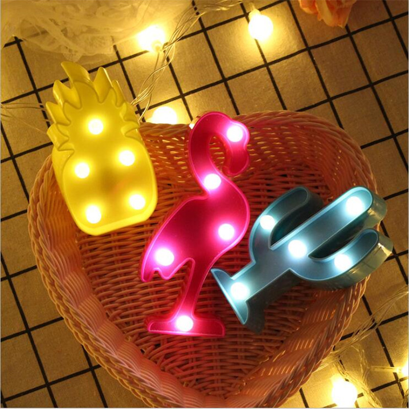 Cartoon Flamingo Cactus 3D LED Night Light Christmas decor Children kid room Night Lamp LED Table Lamp home decorations gift  (11)