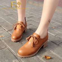 Tan Lace-up Women's Oxfords Round Toe Block Heels