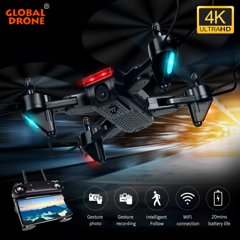 Global Drone FPV 4K Camera Quadrocopter Dron Optical Flow RC Helicopter Auto Follow Selfie Drones with