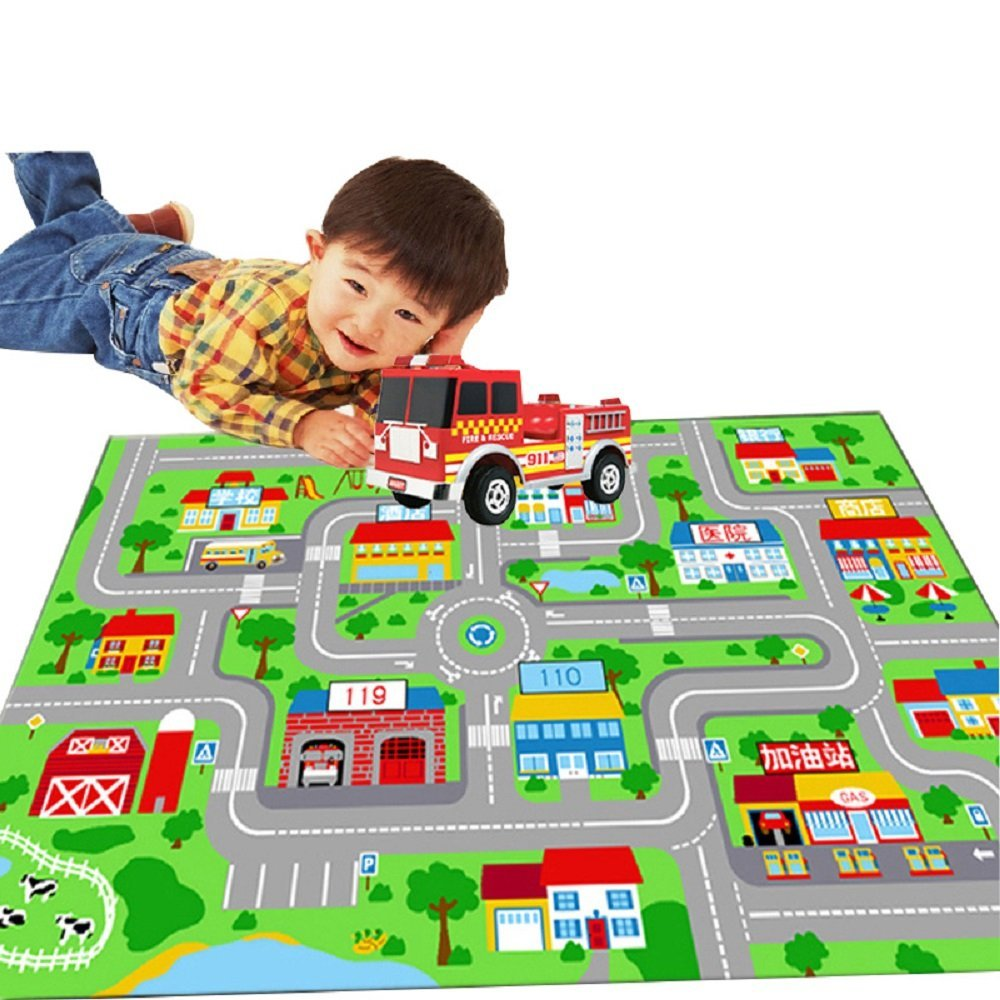 WINLIFE Large Kids Play Rug City Life Play Carpet