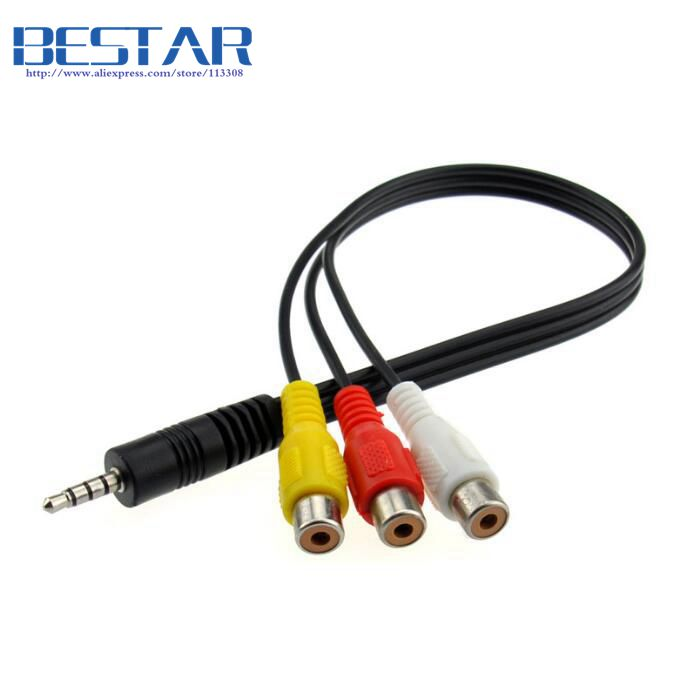 4 poles 3.5mm Mini AV Male to 3RCA Female M/F Audio Video Cable Stereo 3.5 mm to 3 rca For TV Box DVD CD Computer Sound Speaker