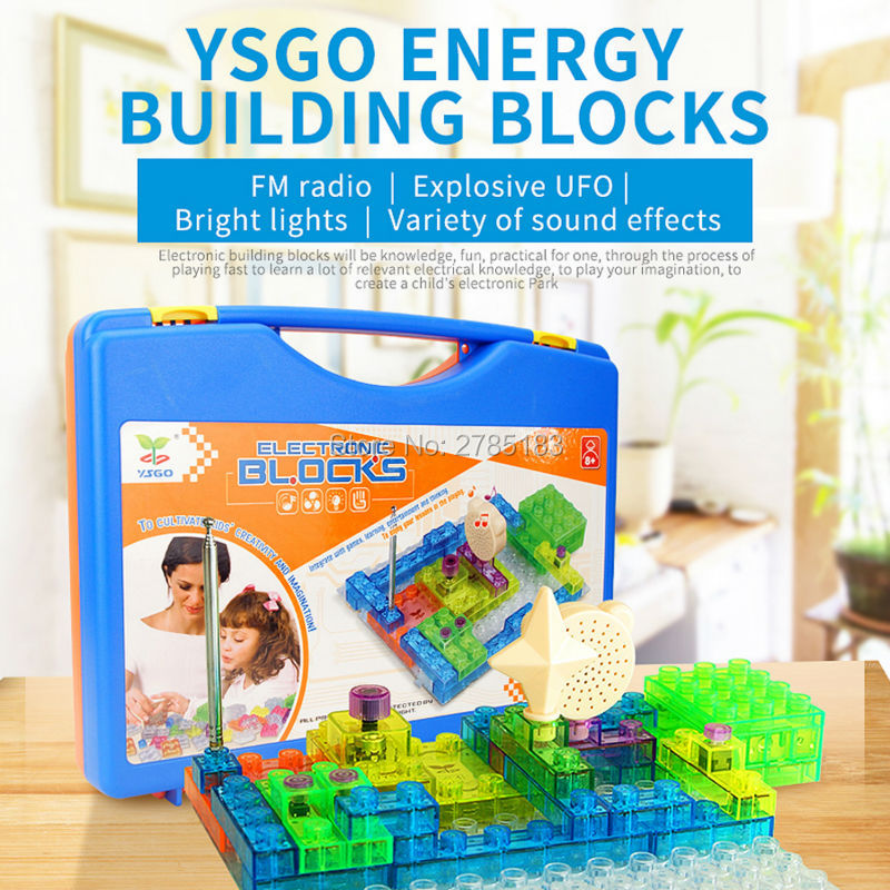 цена на Electronic Circuits Building Blocks Physics Science Kits Electric Discover With Lighted Bricks (44pcs), 120 Different Projects