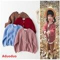 2016 Coreano bebê crianças roupas das meninas dos meninos suéter Outono linhas grossas cor sólida solto cardigan jacket outfit