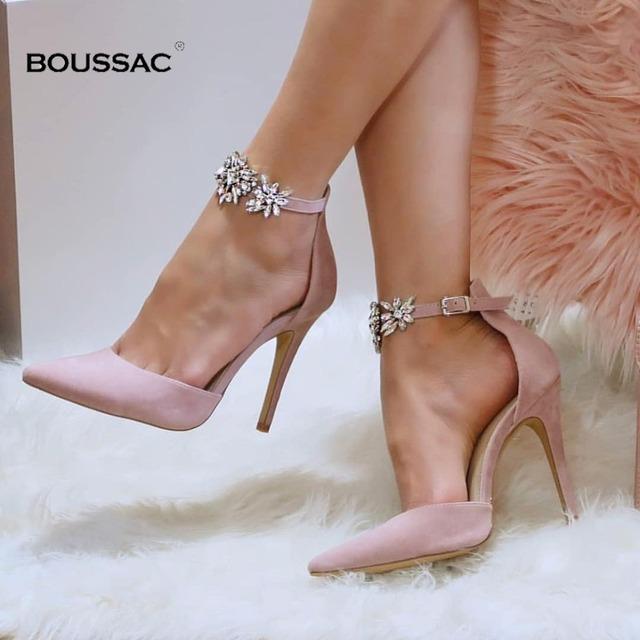 Eleganckie buty na wysokim obcasie z ozdobnymi kamieniami kobiety pompy jedwabiu Pointed Toe buty ślubne kobiety klamra pasek kryształ szpilki kobiety SWB0025 tanie tanio Boussac Cienkie obcasy Super Wysokiej (8cm-up) Podstawowe Szpiczasty nosek Na co dzień Pasuje prawda na wymiar weź swój normalny rozmiar