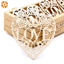 10pcs  Wooden Hollow Love Carved Flower Christmas Pendants Ornaments Christmas Party Gift Decoration