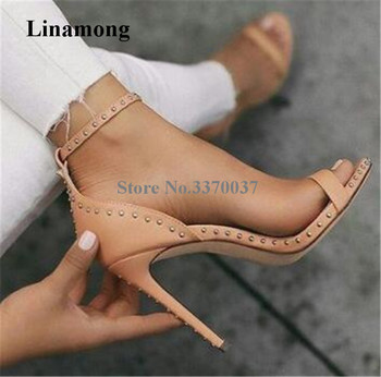 Women Summer Hottest Fashion Open Toe One Strap Rivet Stiletto Heel Sandals Simple Style Ankle Strap High Heel Sandals