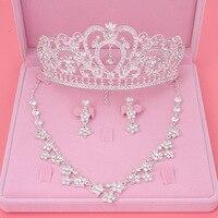 Hermosa boda joyería de Tiara de diadema brillante corona nupcial Tiaras de reina brillante de diamantes de imitación de pelo de conjuntos de joyas
