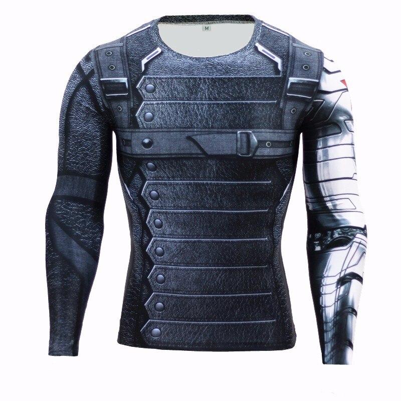 Marvel Superhero Winter Soldier Bucky 3D Men T Shirt Fitness T-Shirt Long Sleeve Compression Shirt Mens MMA