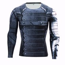 Marvel Superheld Winter Soldier Bucky 3D Mannen T-shirt Fitness T-Shirt Lange Mouw Compressie Shirt Mens MMA(China)
