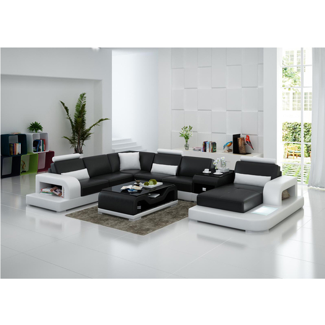 French Style Living Room Furniture Contemporary U Shape Leather Sectional Sofa