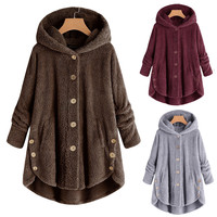 Модное женское пальто на пуговицах пушистый хвост Топы пуловер с капюшоном свободные куртки свитер элегантные женские одноцветные пальто ...