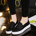DreamShining New Women Flats Shoes Sequin Shoes Platform Shoes Ladies Flats Shoes Black Casual Shoes Silver Black zapatos mujer