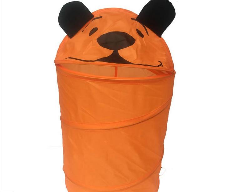 Foldable 5 Styles Cute Cartoon Folding Laundry Cylinder Pop Up Household Storage Bin Hamper Tidy Basket Kid Toy Sundries Box Bag