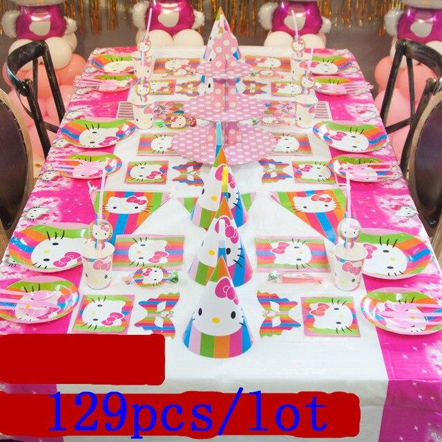 Us 30 55 38 Off Baru Tema Hello Kitty 129 Pcs Kertas Cup Piring Jerami Gadis Pesta Ulang Tahun Acara Pesta Kartu Undangan Pernikahan Topi