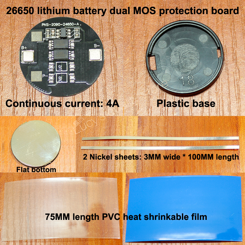 1 Set 26650 Lithium Battery 3.7V Dual MOS Protection Board 1 Section 26650 Lithium Battery 4.2V Protection Board Current 4A