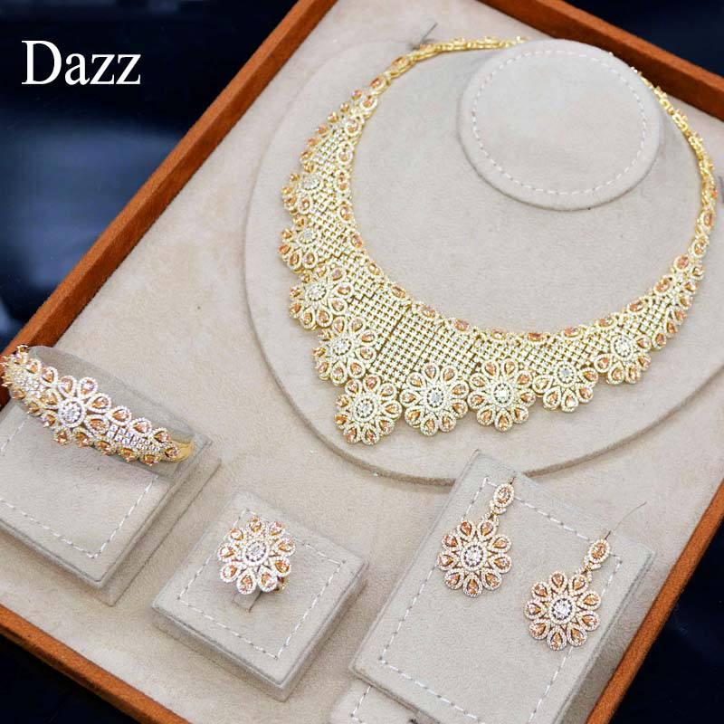 Dazz 4pc Gold Color Nigerian Wedding Jewelry Set Yellow Crystal Zircon For Women Bride Party Dubai Flower Accessories Gifts 2019Dazz 4pc Gold Color Nigerian Wedding Jewelry Set Yellow Crystal Zircon For Women Bride Party Dubai Flower Accessories Gifts 2019