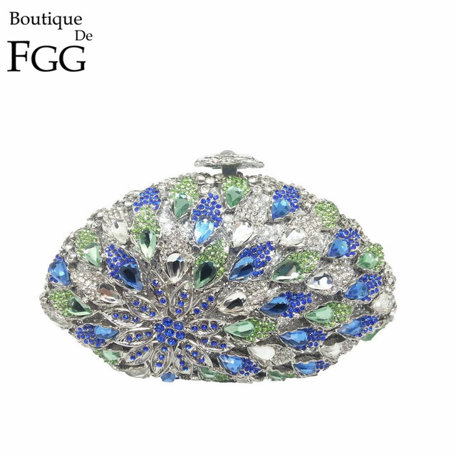 Gift Box Bohemian Ladies Evening Bags Clutches For Wedding Party Purses Women Handbags Blue Rhinestone Clutch Bag Purse Handbag