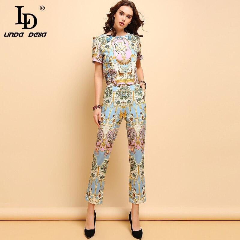 LD LINDA DELLA 2019 Summer Fashion Suits Women's Casual Short Sleeve T-shirt and Elegant Animal Printe Long Pants Two Pieces Set