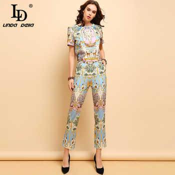 LD LINDA DELLA 2019 Summer Fashion Suits Women\'s Casual Short Sleeve T-shirt and Elegant Animal Printe Long Pants Two Pieces Set