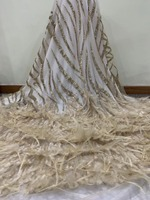 embroidery lace fabric SYJ 12232 best quality african tulle mesh lace with feather for sawing dress