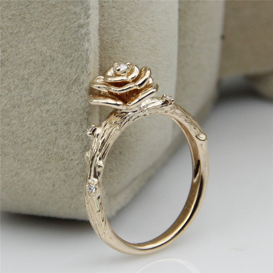 Vintage Rose Flower Design Real Diamond 0 03ct Natural Wedding Ring Fl 14k Gold Solitaire Engagement In Rings From Jewelry