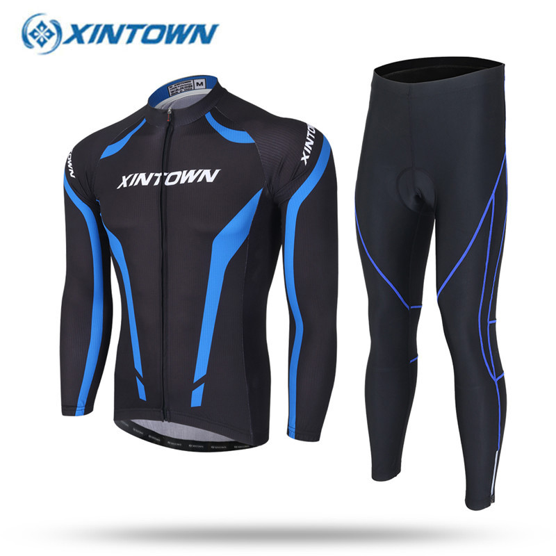 2017 XINTOWN Blue Men Cycling Jersey Breathable Long Sleeve Road Bike Bicycle Clothing Quick Dry Sport Wear Jerseys 2016 new men s cycling jerseys top sleeve blue and white waves bicycle shirt white bike top breathable cycling top ilpaladin