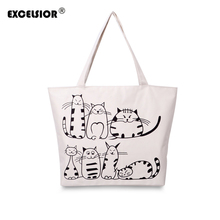 EXCELSIOR Cartoon Cats Printed Female Shopping Tote Bag Big Canvas Handbag Women's One Shoulder Crossbody Bag Portable sac