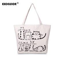 EXCELSIOR Cartoon Cats Printed Female Shopping Tote Bag Big Canvas Handbag Women's One Shoulder Crossbody Bag Portable sac