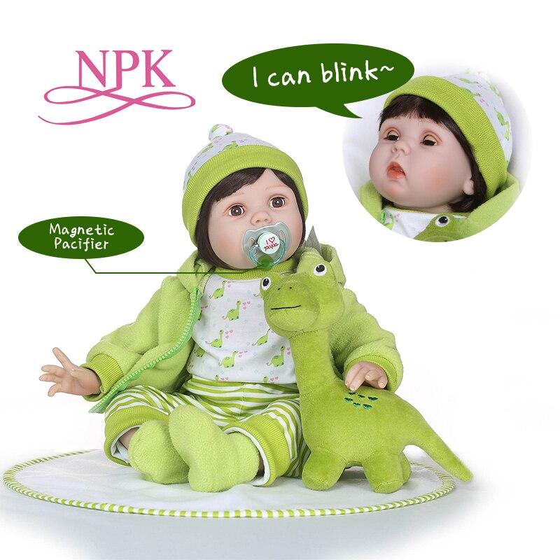 NPK 55 cm silicone bambole del bambino rinato Lampeggiante bambola Compagno di Giochi Per Ragazze boneca reborn Morbido Giocattoli regalo di compleanno Bebe Reborn