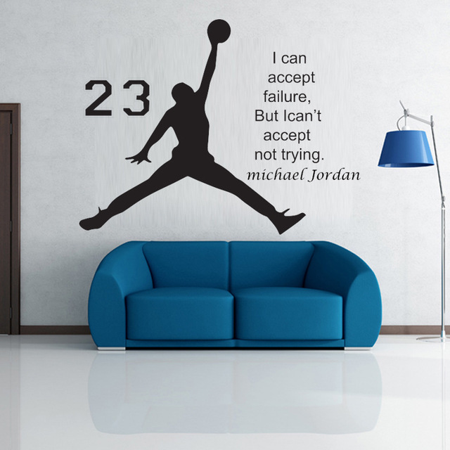 Cool Guy Michael Jordan Basketball Inspirational Wall Sticker Quotes Vinyl  Wall Decals Wall Mural Art Kids Part 50